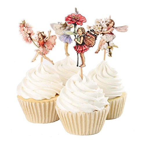 Yunko 24 Pcs Fairy Girls Flowers Cupcake Muffin Toppers Baby Shower Birthday Party Favors ()