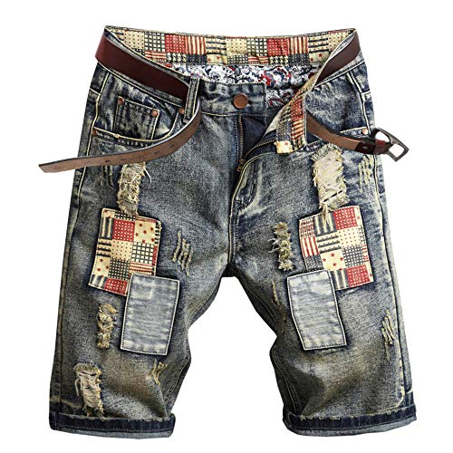 Welity Men's Ripped Denim Shorts, Fashion US Flag Patchwork Jeans Straight Fit Shorts with Hole for Men, Size 32/Tag 34