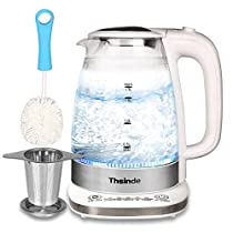 Double Wall Electric Kettle 1.7L (BPA Free) Adjustable Temperature Control Fast Boiling Glass Tea Kettle With Tea Infuser and Cleaning Brush Cordless,Blue LED light, Stainless Steel polish Hot Water Kettle ,Glass Tea Kettle