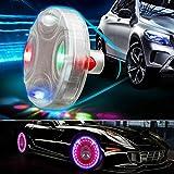 Iusun Car Auto Wheel Hub Tire Solar Color LED Decorative Light Solar Energy Flash With Screw Tool (Clear)