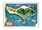 Map of Bali, Indonesia - Tanáh (Tanah) Lot Balinese Temple - Vintage Illustrated Map by Miguel Covarrubias c.1930s - Premium 290gsm Giclée Art Print - 36in x 48in