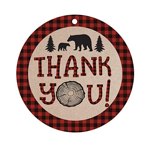 Lumberjack Bear Thank You Favor Tags, Thank You Tags, Lumberjack Baby Shower Tags, Lumberjack Birthday Tags, 25 Count