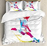 Lunarable Boy's Room Duvet Cover Set King Size, Silhouette of Abstract Soccer Young Sportsman Kicks the Ball Goal Win Match, Decorative 3 Piece Bedding Set with 2 Pillow Shams, Multicolor