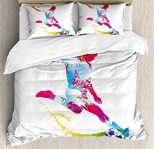 Boy's Room Queen Size Duvet Cover Set by Lunarable, Silhouette of Abstract Soccer Young Sportsman Kicks the Ball Goal Win Match, Decorative 3 Piece Bedding Set with 2 Pillow Shams, Multicolor by Lunarable