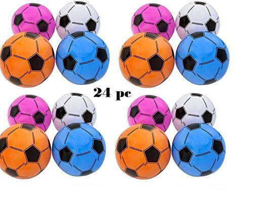 (24) Inflatable Assorted Soccer Balls ~ Colorful 16'' Soccer Ball inflates ~ Birthday Favor Decor Goody Bag Filler ~ Team Coach Prize ~ Pool Party Favor Beachballs oudoor ~ New by Mixed