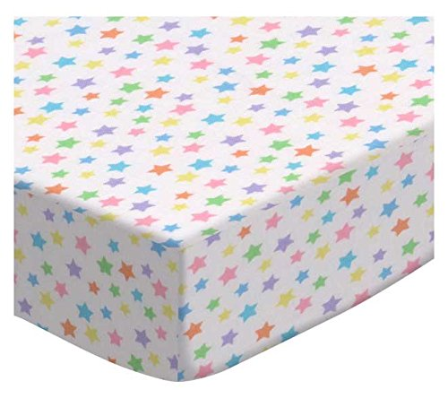 SheetWorld Fitted Cradle Sheet - Pastel Colorful Stars Woven - Made In USA