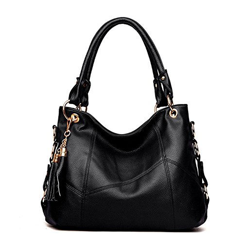 PU with Shoulder tassel Leather Tote Bag Hobo Women's Black Bag Large shoulder NOTAG Handbag FgY8wq5zf