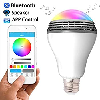 Jeslon Wireless E27 RGB Led Light Bulb Color Changing Built-in Music Speaker Smartphone Free App for Apple iPhone / iPad / iPod / Android Devices