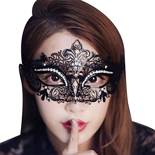 Bellady Shiny Metal Rhinestone Venetian Pretty Party Evening Prom (Prom Mask)