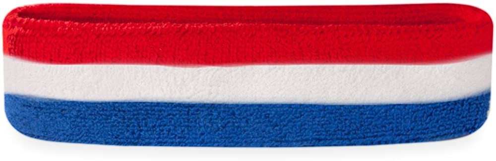 Suddora Striped Sweatband/Headband - Terry Cloth Athletic Basketball Head Sweat Bands (Red White Blue) : Clothing