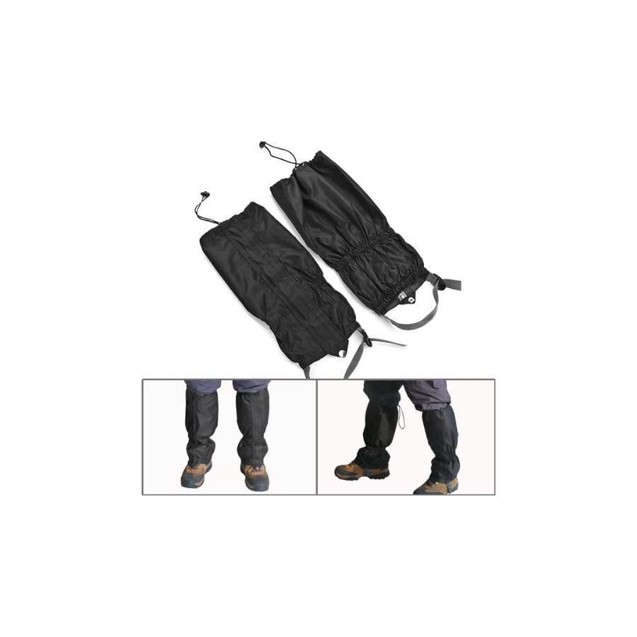Astra Depot 1 Pair Jet Black Unisex Double Sealed Zippered Closure TPU Strap Waterproof Breathable 400D Nylon Cloth Leg Gaiters Leggings Cover for Rain Winter Outdoor Sports Activities