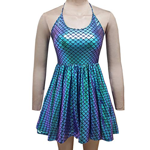 (pinda Festival Rave Holographic Mermaid Scale Party Costumes High Waisted Strap Flare Skater Dress (XL, 8069GMD))