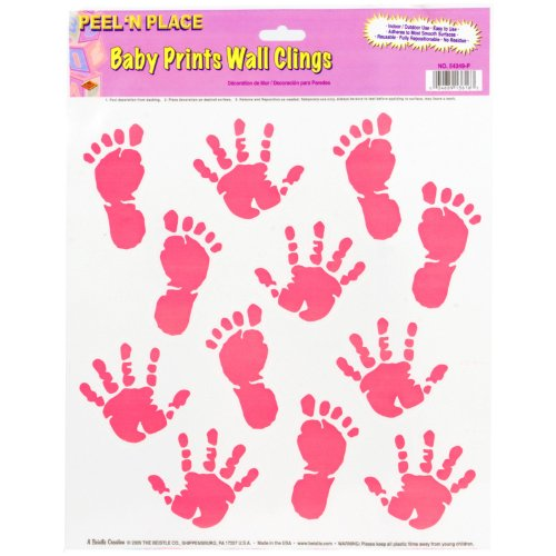 Beistle 54349-P Baby Prints Peel 'N Place, 12-Inch by 15-Inch Sheet