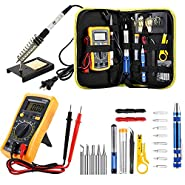 Mightytools's Soldering Iron Kit, Updated Soldering Gun Kit Best for Electric, Jewellery & Welding Work – Digital Multimeter, Screwdiver, Soldering Iron Holder (14pcs Set) Best Gift (14)
