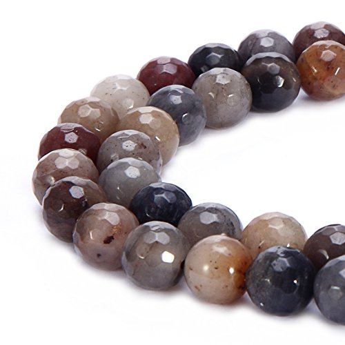 Beads Round Crystal Faceted Chinese (BRCbeads Natural Chinese Devil Jasper Gemstone Loose Beads Faceted Round 10mm Crystal Energy Stone Healing Power for Jewelry Making)