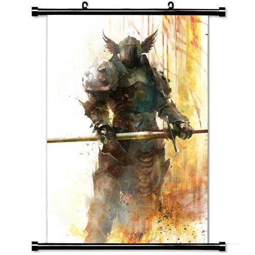 MiniGao Wall Scroll Poster with Guild Wars Warrior Sword Armor Helmet Home Decor Wall Posters Fabric Painting 32 X 48 Inch