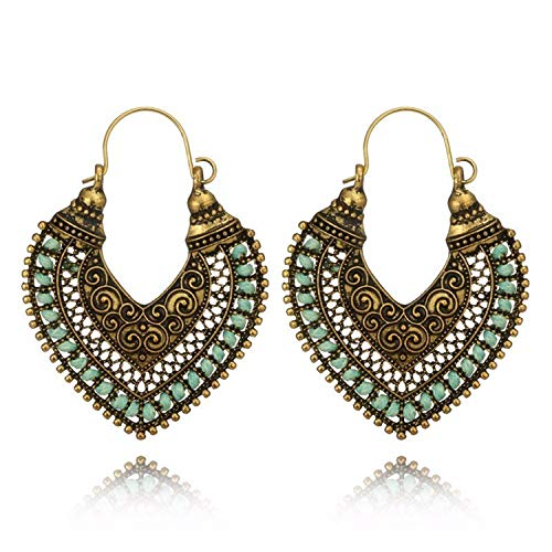 (Hot Ethnic Vintage Jewelry Carving Hollow Gypsy Heart Earrings for Women Pendientes Mujer Brincos 596)
