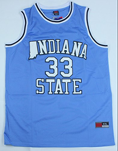 CRISGIORD Men's Indiana State Sycamores College Basketball NO.33 Larry Bird Jersey L Blue