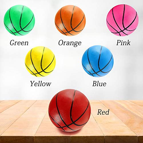 Shindel 7.5Inch Mini Toy Basketball, 6PCS Colorful Toy Basketball Mini Rubber Basketball Basketball for Toddlers, Teenager, with Pump