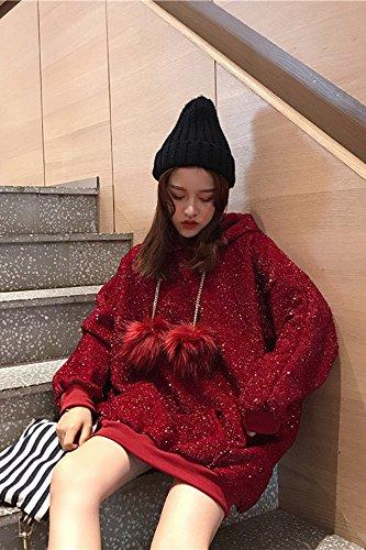 The thicker section width prednisone plus velvet long-sleeved hooded wool ball fashion red sweater female Korean long paragraph shirt student for women girl