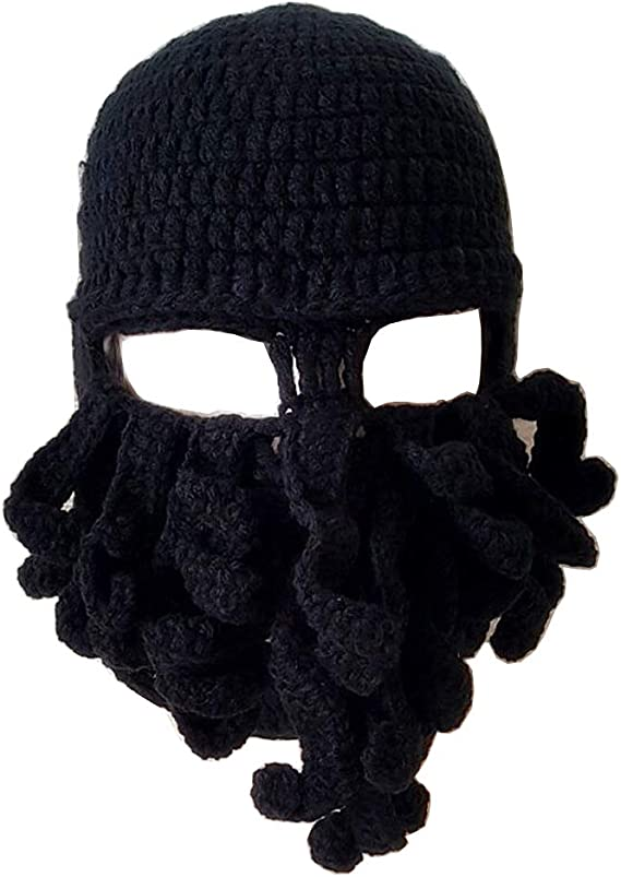 Unisex Funny Roman Helmet Knight Knit Cap Winter Warm Beard Hat Cosplay Party