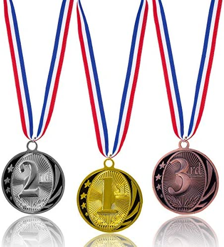 3pcs Pack Haley Party Olympic Style Award Medals Metal Winner Medal 1st 2nd 3rd Gold Silver Bronze Award Medals with Neck Ribbon for Kids