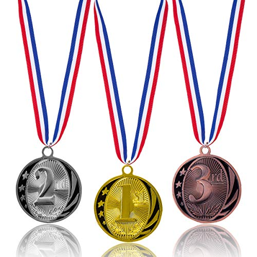 (Haley Party Olympic Style Award Medals Metal Winner Medal 1st 2nd 3rd Gold Silver Bronze Award Medals with Neck Ribbon for Kids (3pcs Pack))