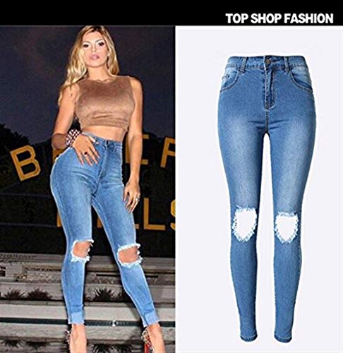 Chic Donna Giovane Yasminey Strappata Lavati Uomo Denim Pantaloni Estate Attillata Jeans Alta Sexy Boyfriend Blau Hole Dchen Vita SvpvPxwdq