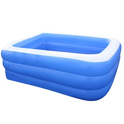 Redshop Inflatable Family Pool Children's Inflatable Pool Family Swimming Paddling Pool Rectangular Inflatable Above Ground Thick Wear-Resistant Marine Ball Pool (130x90x50CM, Blue): Garden & Outdoor