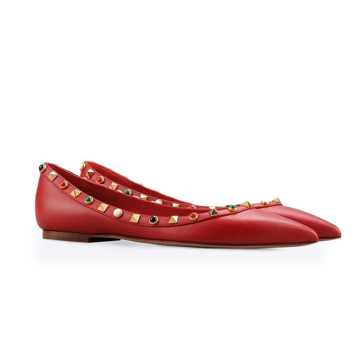 GONGFF Flache Spitze Niet Schuhe Frauen Ballett Schuhe Pumpe Sandalen,#4,46  46|#4