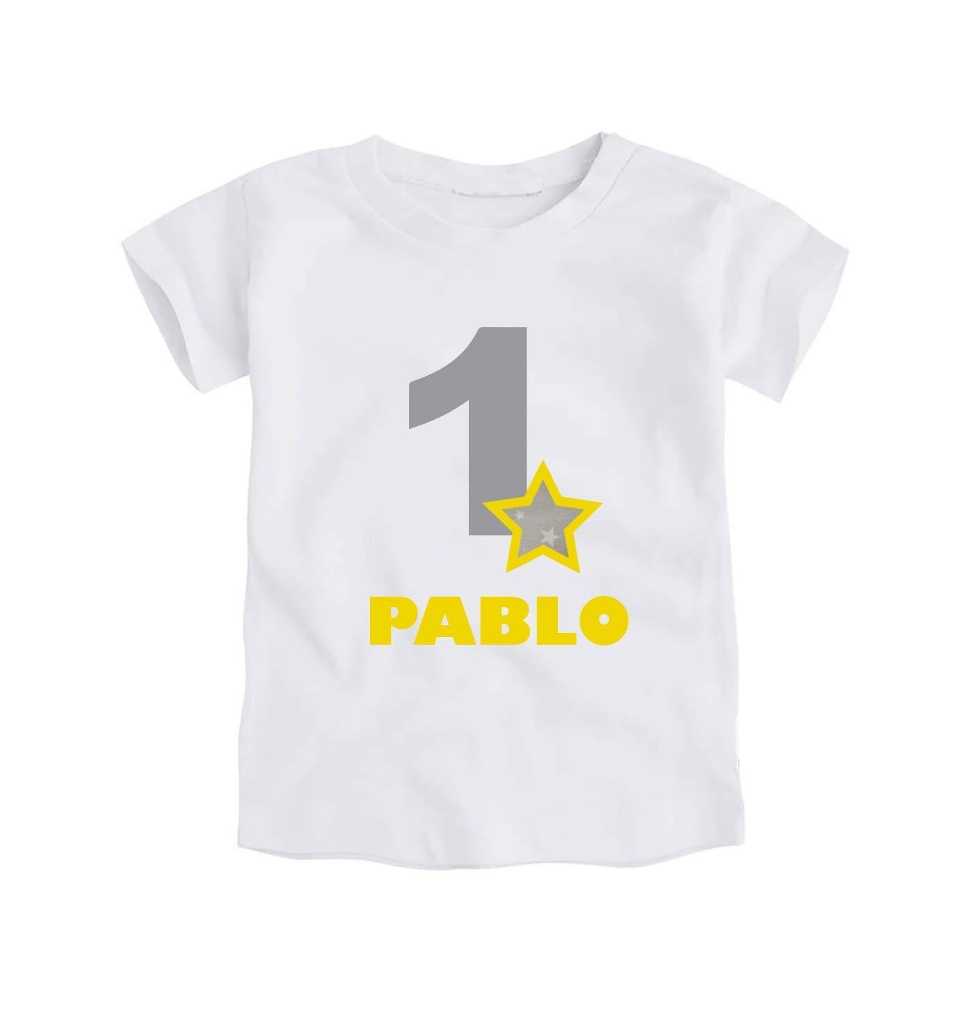 Camiseta o Body Primer Cumpleañ os 1 Añ o/Personalizado con el Nombre/para Bebes Unisex Niñ os Niñ as/Color Gris y Amarillo