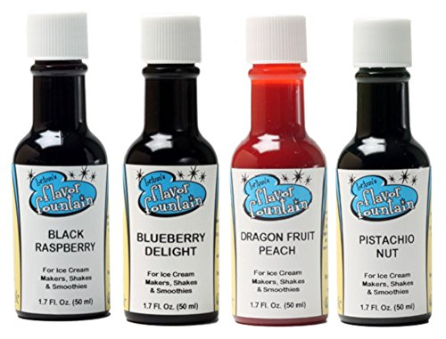 LorAnn Oils Gourmet Flavor Fountain Variety Bundle Black Raspberry, Blueberry Delight, Dragon Fruit-Peach, Pistachio Nut, 1.7 Ounce Bottles (4 (Pistachio Fudge)