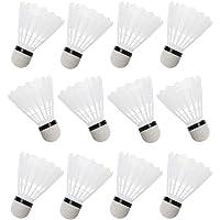 Cansenty Lot de 12 volants en plastique pour badminton Blanc