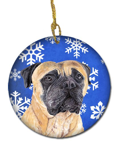 Carolines Treasures Sc9385 Co1 Mastiff Winter Snowflakes Holiday Ceramic Ornament Multicolor