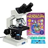 OMAX 40X-2000X Binocular Compound LED Microscope+Book+Blank Slides+Covers+Lens Paper