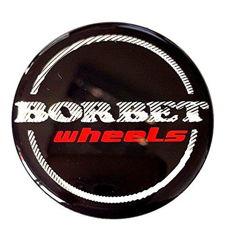 Original Borbet Wheels 56mm Nabendeckel Nabenkappe Schwarz Glanz Silber Rot Center Cap Deckel Felgendeckel
