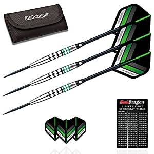 Red Dragon Refuel 24g - 85% Tungsten Steel Darts with Flights, Shafts & Wallet & Red Dragon Checkout Card