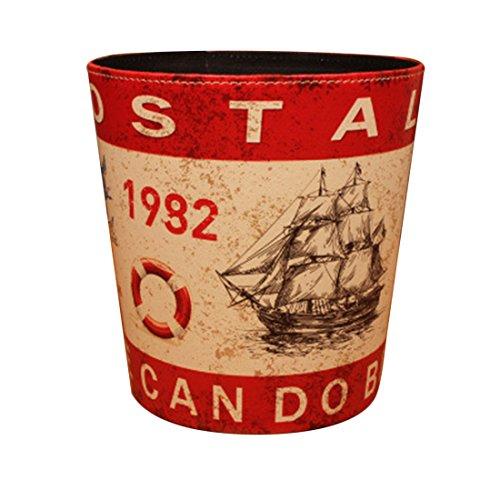 Waste Bins, WOLFBUSH European Style Retro PU Leather Wastebasket Paper Basket Trash Can Dustbin Garbage Bin without Lid - Red Sailboat Pattern