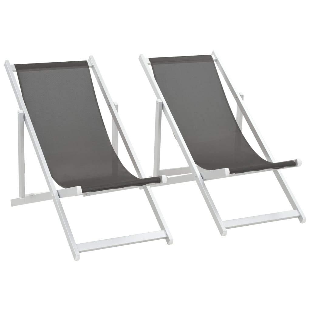 vidaXL 2X Sillas de Playa Plegables Aluminio Textilene Gris ...