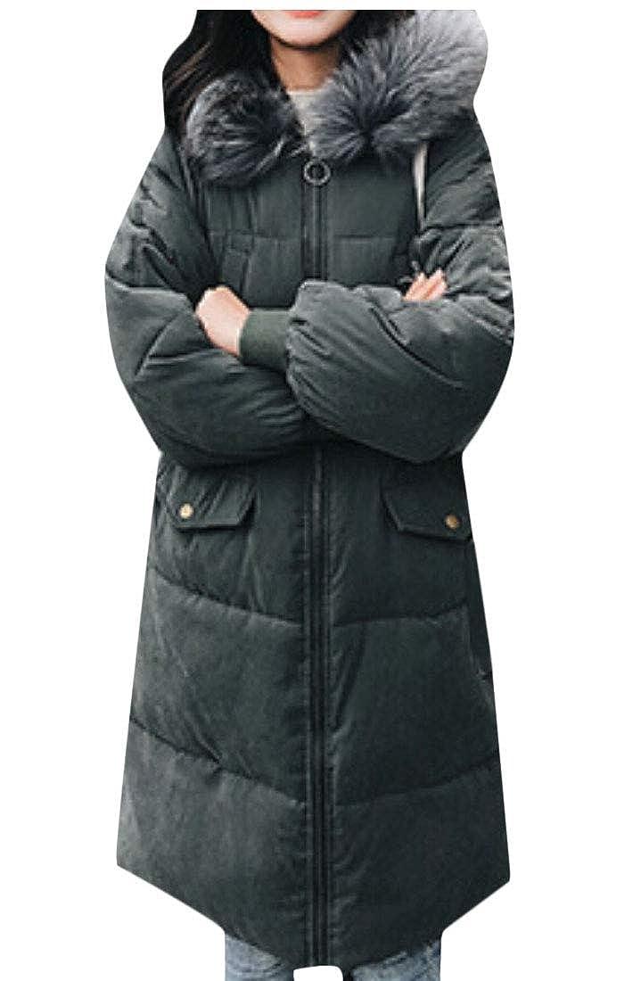 1 Keaac Women Warm Faux Fur Hood Winter Puffer Down Jackets Parka Coats
