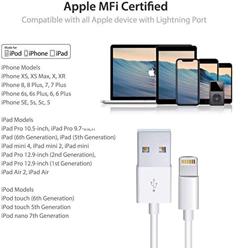 PKEDTNEL-iPhone/iPad Charger Cable, (2 Pack)[Original Charging Cable]lightning Charger Cord USB Cable Compatible iPhone 11/Xs/Xr/X/8/7/6s/6/5,iPad Pro/Air/Mini,iPod Touch(1M/3.3FT)