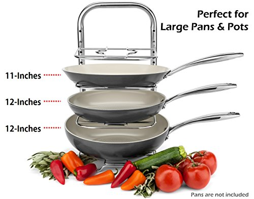 Large Product Image of BTH Heavy-Duty Height Adjustable Pot Pan Stainless Steel Organizer Rack 5-Tier: 10, 11 & 12 Inch Kitchenware Cookware Pot Rack Cabinet Countertop Storage Solution