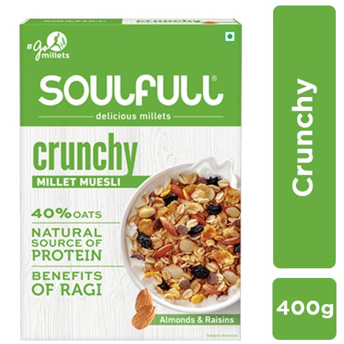 Soulfull Millet Muesli Crunchy Contains Almonds & Raisins, 400g