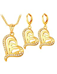 Lover Gift Women Fashion Jewelry 18K Gold Plated Heart Allah Pendant Necklace Earrings Set