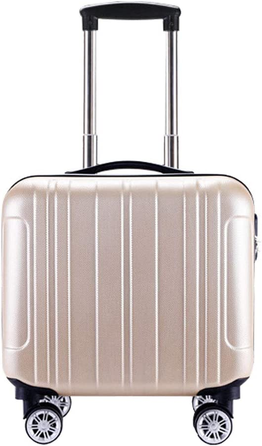 Gold BMHFF Luggage Carry On Luggage with 8 Spinner Wheels Hardshell Lightweight Suitcase with Password Lock Durable Trolley Case Boarding The Chassis 18in for Men and Women International Travel