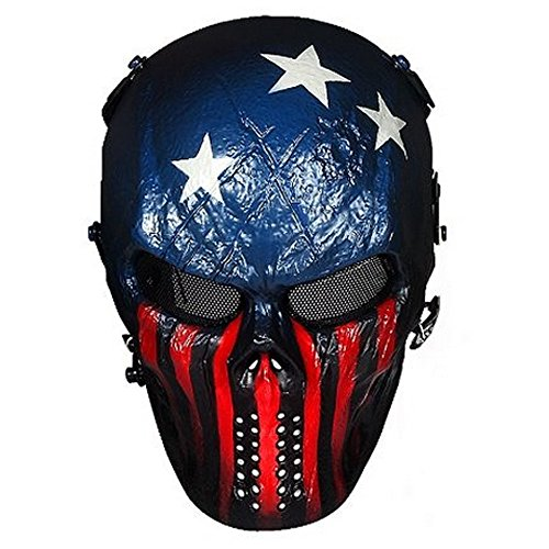 Skull Airsoft Wire Masks Full Face - Paintball Mask Metal Mesh Eye Protection BB Gun/CS Game/Tactical/Military - Outdoor Ghost Mask- Scary Skeleton Zombie Mask for Guy Fawkes Halloween (Captain f) -