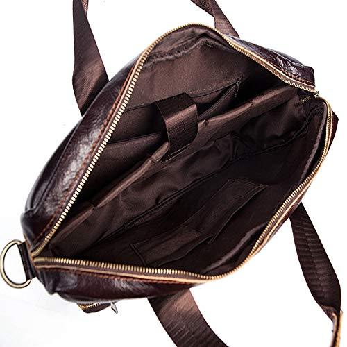 Color : Dark Coffee BVilage Mens Genuine Leather Briefcase Business Leisure Cross Section Handbag Laptop Bag