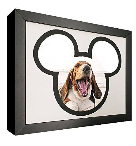 Mouse Silhouette Picture Frame with Black and White Mat - For 4x6 - Disney Frames World