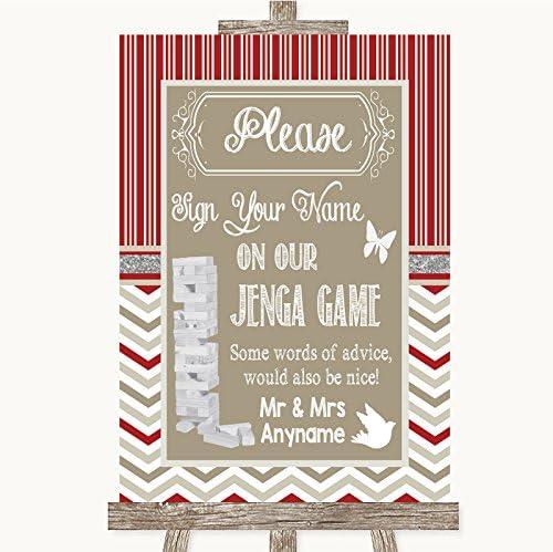 Letrero de boda rojo y gris para invierno, diseño de jenga, color rojo y gris, Framed Oak Medium: Amazon.es: Oficina y papelería