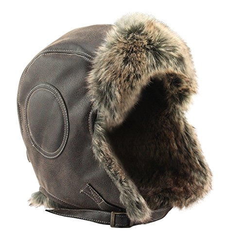 Global Vasion Winter Hat Fur Leather Trapper Pilot Aviator Hat with Ear Flap Chin Strap for Men and Women (Brown Chin Strap)